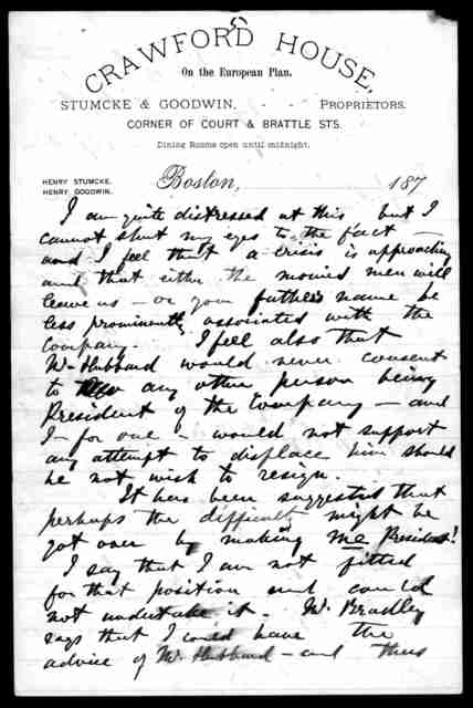 Letter from Alexander Graham Bell to Mabel Hubbard Bell, January 27, 1879