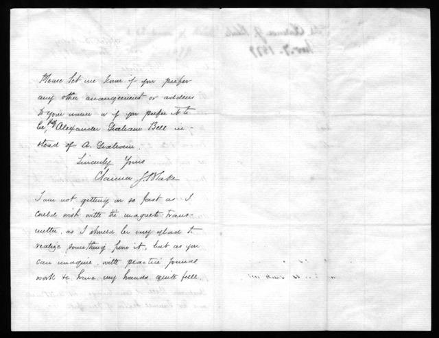 Letter from Clarence J. Blake to Alexander Graham Bell, November 7, 1879