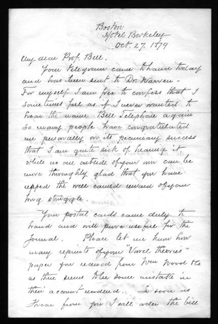 Letter from Clarence J. Blake to Alexander Graham Bell, October 27, 1879