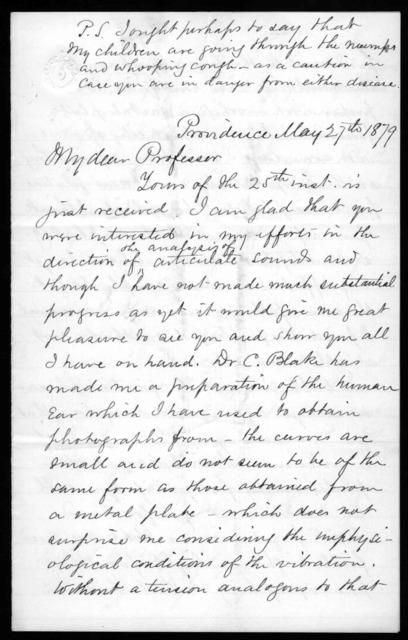 Letter from Eli W. Blake, Jr. to Alexander Graham Bell, May 27, 1879