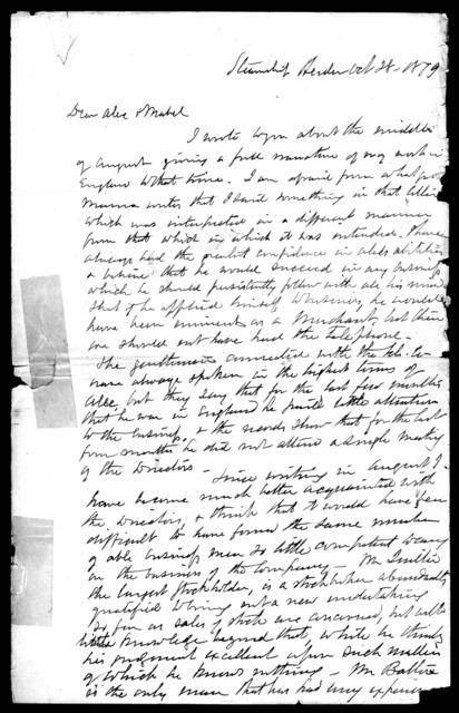 Letter from Gardiner Greene Hubbard to Alexander Graham Bell and Mabel Hubbard Bell, October 28, 1879