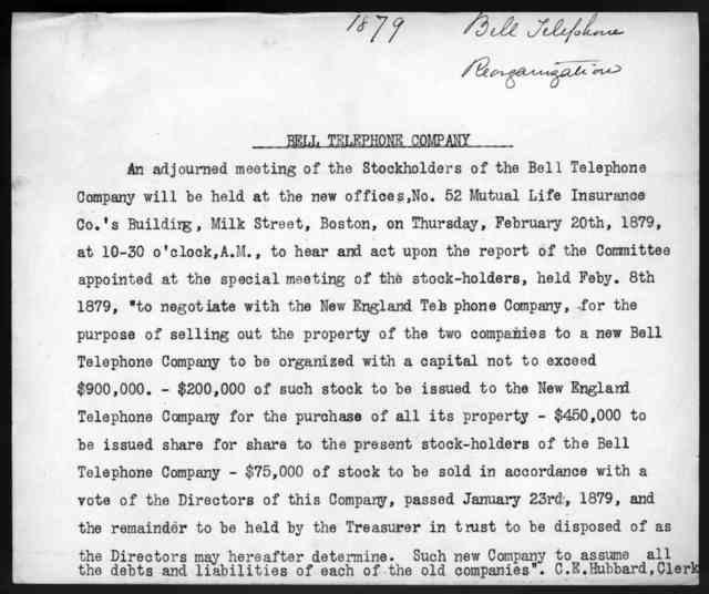 Letter from Gardiner Greene Hubbard to Alexander Graham Bell, November 2, 1879