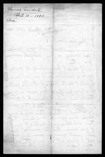 Letter from Thomas Sanders to Alexander Graham Bell, April 10, 1879