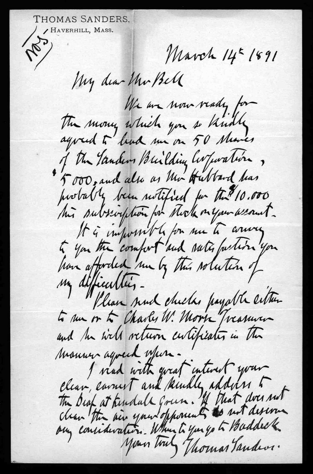 Letter from Thomas Sanders to Alexander Graham Bell, March 14, 1879