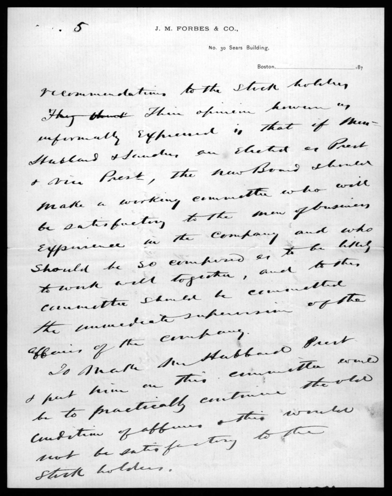 Letter from William H. Forbes to Alexander Graham Bell, March 5, 1879