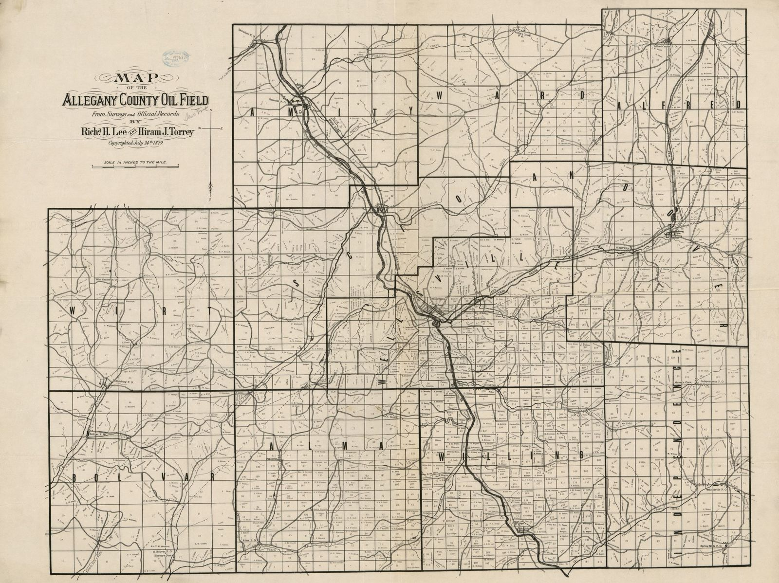 Map of the Allegany County oil field : from surveys and official records  /