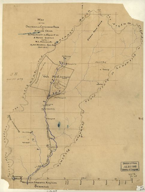 Map of the drainage and catchment basin of Asylum Creek to illustrate a report on a water supply for the W.L. Asylum of Va. /
