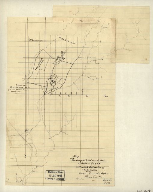 Map of the drainage & catchment basin of Asylum Creek to illustrate the question of a water supply for the Western Lunatic Asylum, Staunton, Va. /