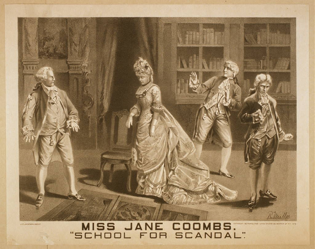 """Miss Jane Coombs, """"School for scandal"""""""