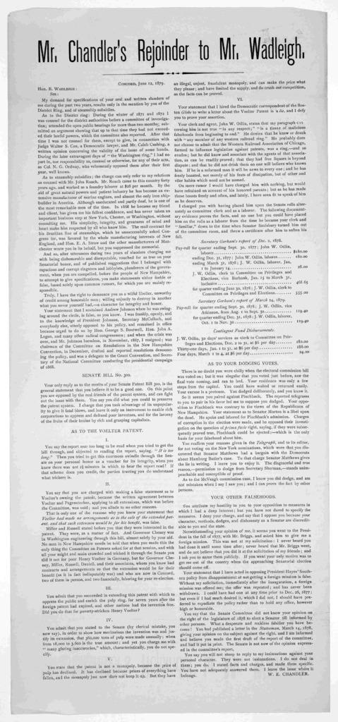 Mr. Chandler's rejoinder to Mr. Wadleigh. Concord. June 12, 1879.