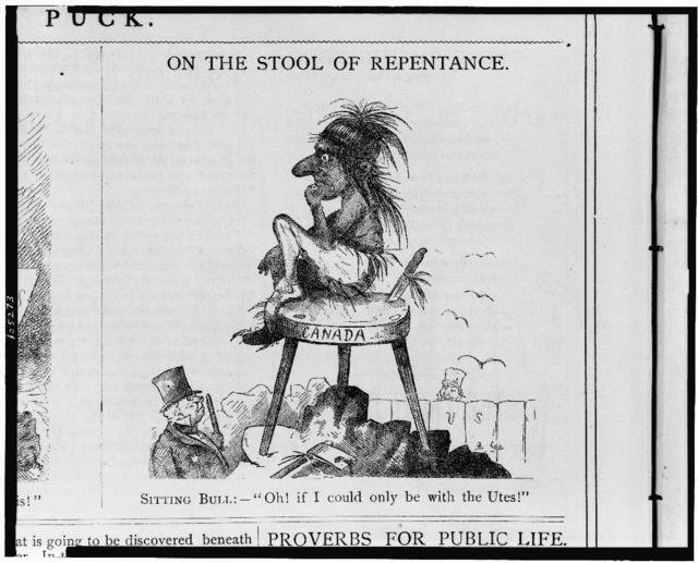 """On the stool of repentance. Sitting Bull:--""""Oh! if I could only be with the Utes!"""" / [Bisb]ee."""