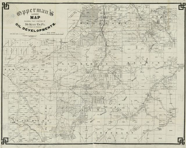 Opperman's latest map showing that portion of Mc Kean Co., Pa., in front of oil developments /