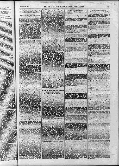 [Page of text with no illus. in Frank Leslie's Illustrated Newspaper, 1879 Oct. 4, p. 71, containing articles: Fifth Contest for the Astley Belt; General Grant's Tour of the World; Closing Scenes in the Zulu War; The New Dry Dock at Ferrol, Spain; Lord Chelmsford's Return to England; Notes Along the Rail; At Home and Abroad]