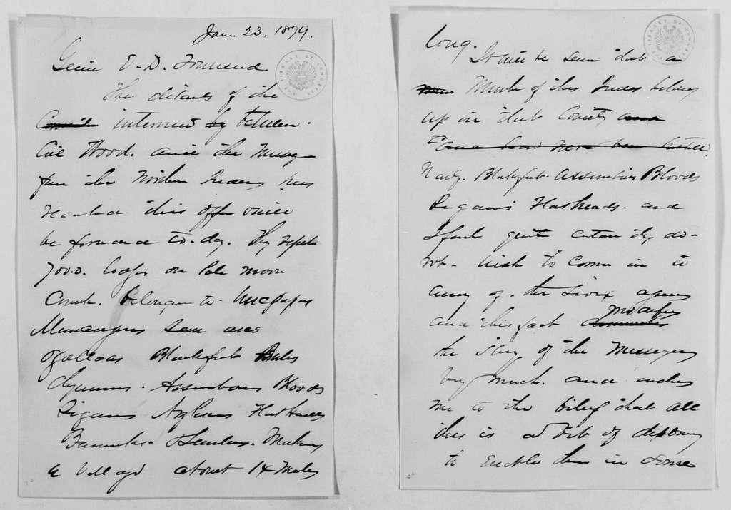 Philip Henry Sheridan Papers: General Correspondence, 1853-1888; 1879; Jan. 13-31
