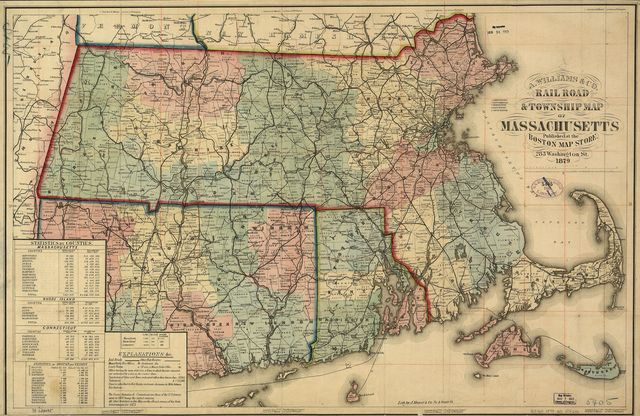 Rail road & township map of Massachusetts, published at the Boston Map Store, 1879.
