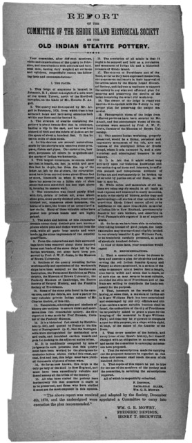 Report of the Committee of the Rhode Island historical society on the Old Indian steatite pottery ... The above report was received and adopted by the Society, December 4th, 1879, and the undersigned were appointed a committee to carry into exec