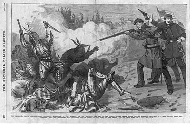 The Cheyennes' death struggle - last desperate resistance of the remnant of the frenzied Red Men to the United States troops under Captain Wessells in a deep ravine, near Fort Robinson, Neb., ...