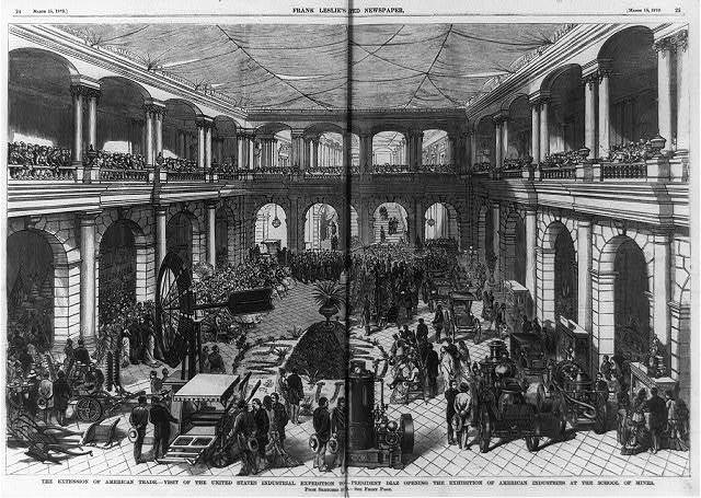 The extension of American trade - Visit of the United States Industrial Expedition to Mexico - President Diaz opening the Exhibition of American Industries at the School of Mines [interior showing crowd and machinery]