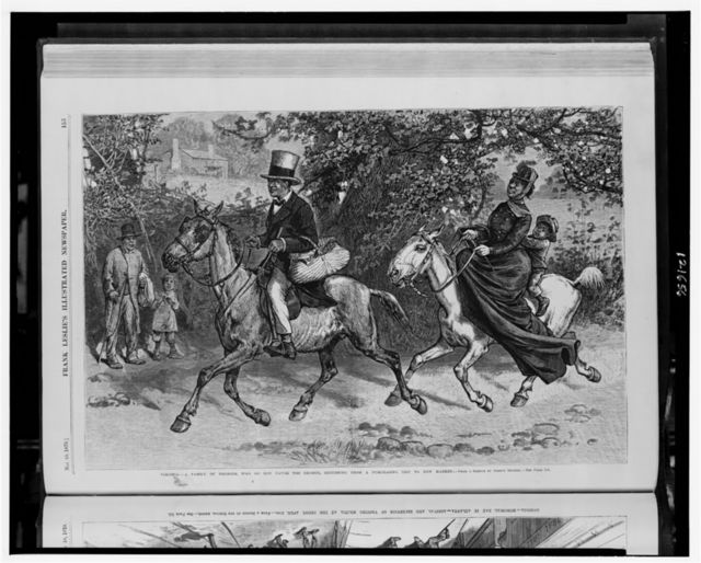 Virginia - a family of Negroes, who do not favor the exodus, returning from a purchasing trip to New Market / from a sketch by Joseph Becker.