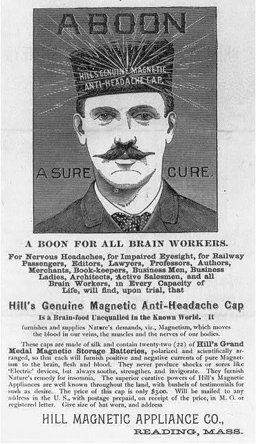 A boon--Hill's genuine magnetic anti-headache cap--A sure cure