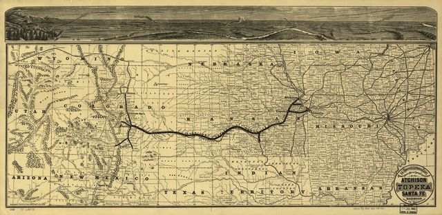 A geographically correct county map of the states traversed by the Atchison Topeka and the Santa Fé Railroad and its connections.