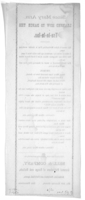 [A group of seven broadside poems, mainly lyrics for music.] San Francisco, Bell & Company [1880].