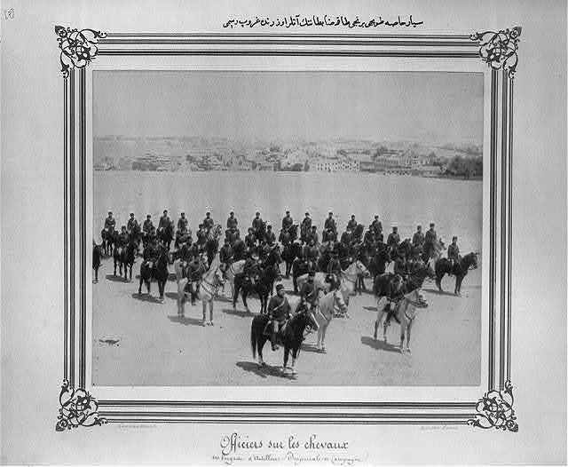 [A group photograph of the officers of the First Mobile Artillery Bodyguard Brigade, on horseback] / Constantinople, Abdullah Frères.
