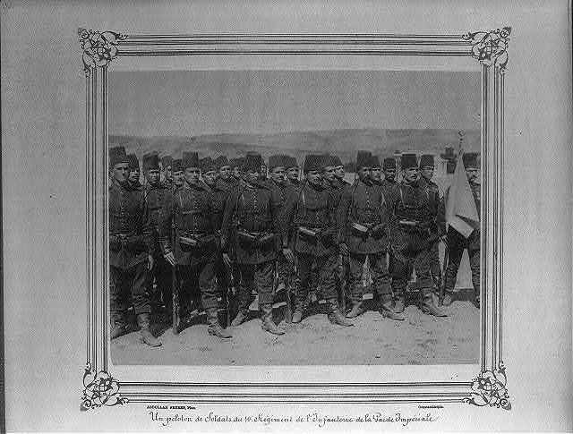 [A platoon from the First Infantry Regiment of the Imperial Guard] / Abdullah Frères, Phot., Constantinople.