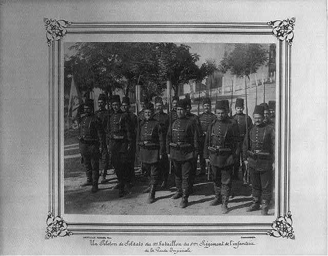 [A platoon of soldiers from the First Battalion of the Fifth Infantry Regiment of the Imperial Guard] / Abdullah Frères, Phot., Constantinople.