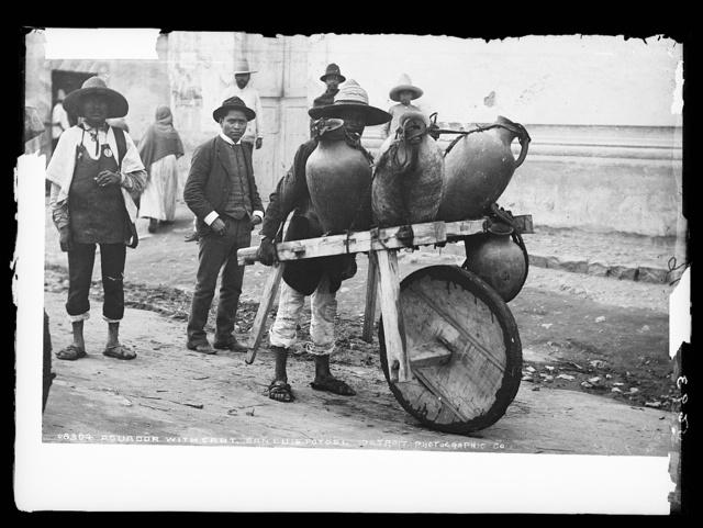 Aguador [water carrier] with cart, San Luis Potosi
