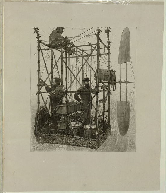 [Albert Tissandier (left), Gaston Tissandier (right), and an unidentified man in the basket of their airship demonstrating an electric navigational system featuring a propeller] / P. Ferat ; E.A. Tilly, sc.