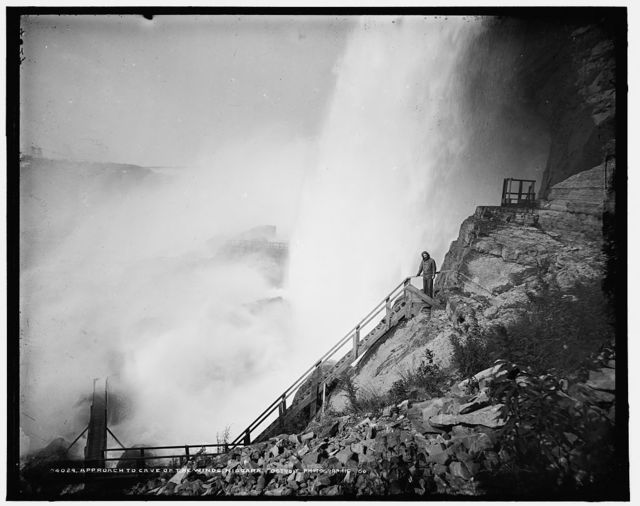 Approach to Cave of the Winds, [American Falls], Niagara