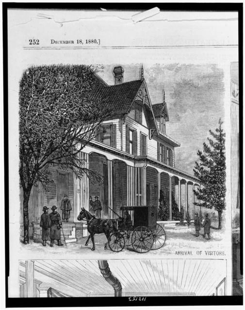 [Arrival of visitors outside home of James A. Garfield, at Mentor, Ohio] / from a sketch by our special artist.