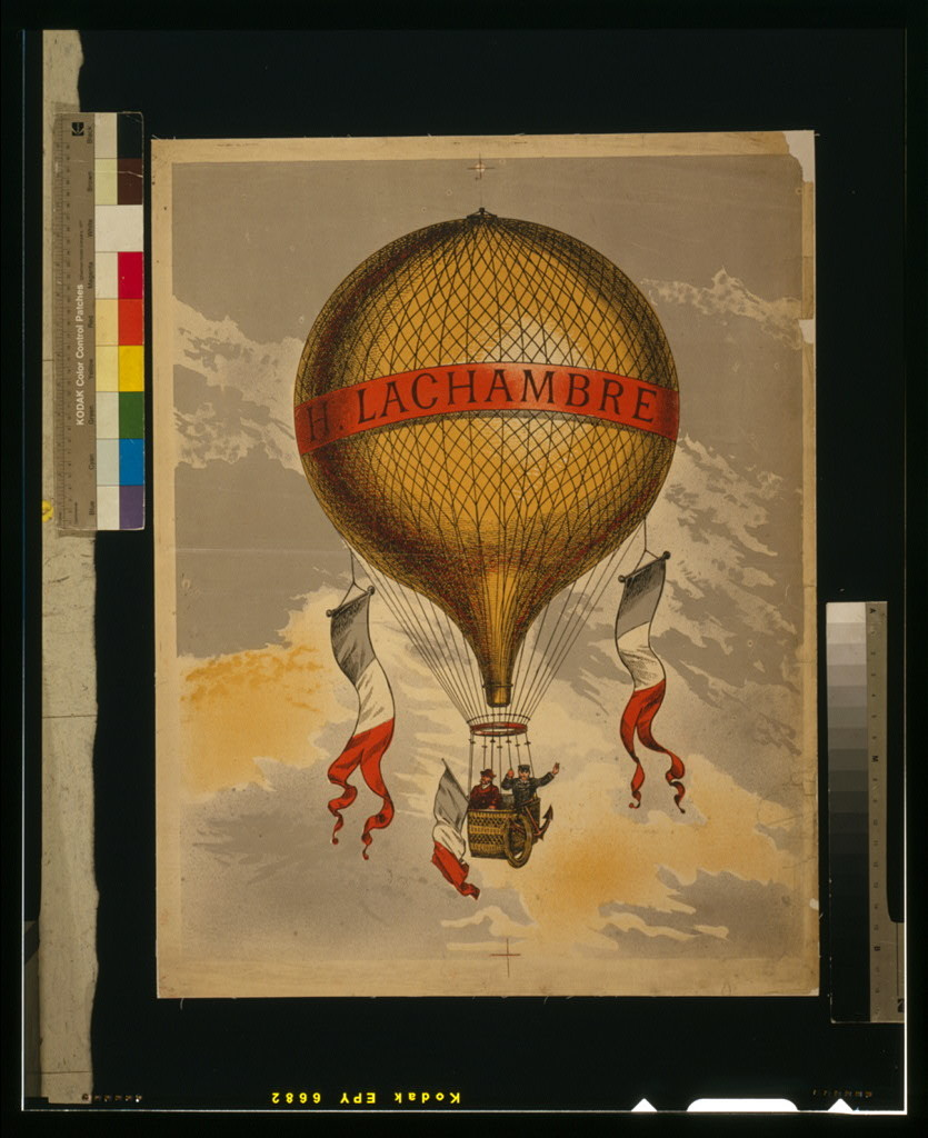 """[Balloon labeled """"H. Lachambre,"""" with two men riding in the basket]"""