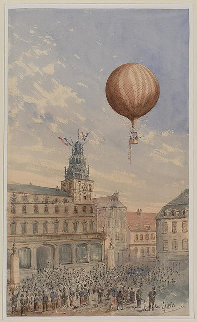 [Balloon with two passengers ascending over a town square, with French flags flying from tower and many spectators below] / Camille Gravis.