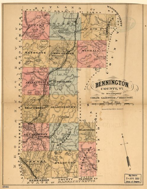 Bennington County, Vt. to accompany Child's Gazetteer and Directory.