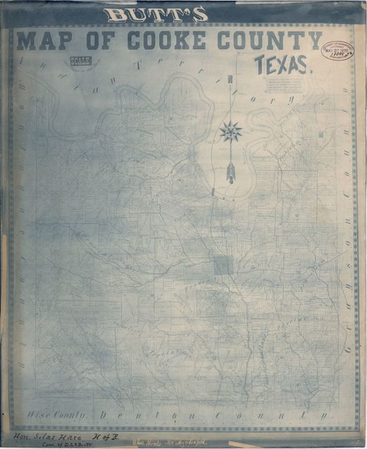 Butt's map of Cooke County, Texas : compiled from the records in the County Surveyor's Office and actual surveys on the ground, and copyrighted in 1888 /