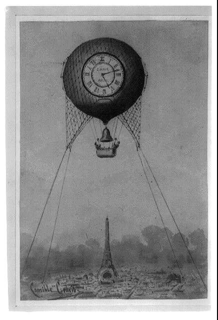 [Captive balloon with clock face and bell, floating above the Eiffel Tower, Paris, France] / Camille Grávis.