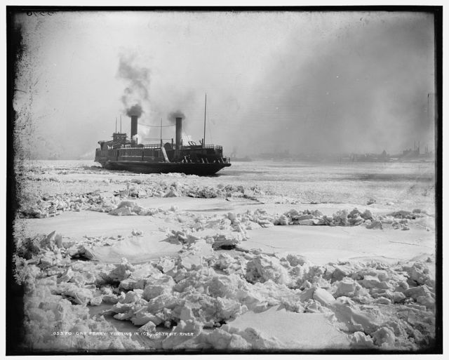 Car ferry turning in ice, Detroit River