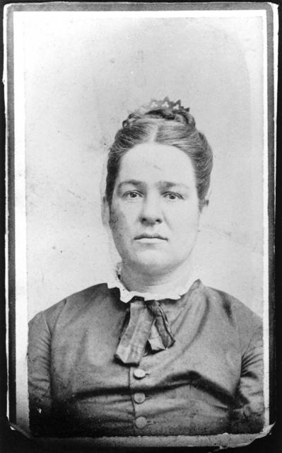 """Carte de visite captioned: """"Lynns Grandma Esther Butcher, Papas mother, Born 1837, Died 1921."""""""