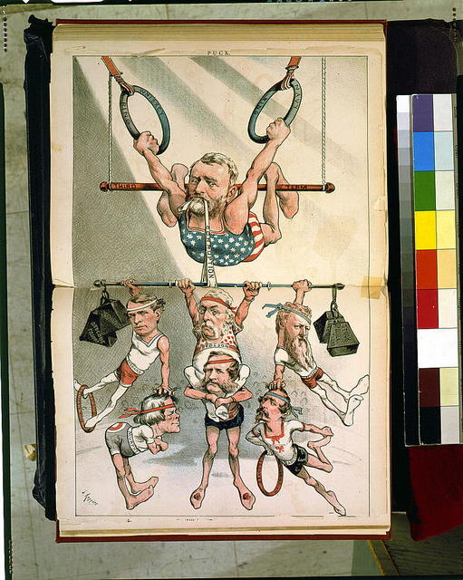 """Cartoon showing Ulysses S. Grant, as an acrobat, on trapeze """"third term,"""" holding on to """"whiskey ring"""" and """"Navy ring,"""" with strap """"corruption"""" in his mouth, holding up other acrobats, Shepard, George M. Robeson, William W. Belknap, Murphy, Williams, and Orville E. Babcock / J. Keppler."""