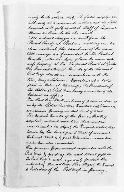 Clara Barton Papers: Red Cross File, 1863-1957; International Committee of the Red Cross, 1863-1919; Reports and other items, translations and copies, 1880-1893; pp. 1-245