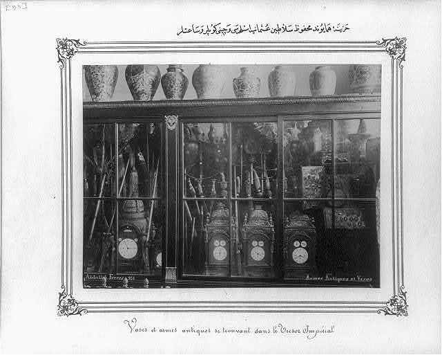 [Clocks, Chinese jars and weapons of the Ottoman Sultans in the Imperial Treasury] / Abdullah Frères.