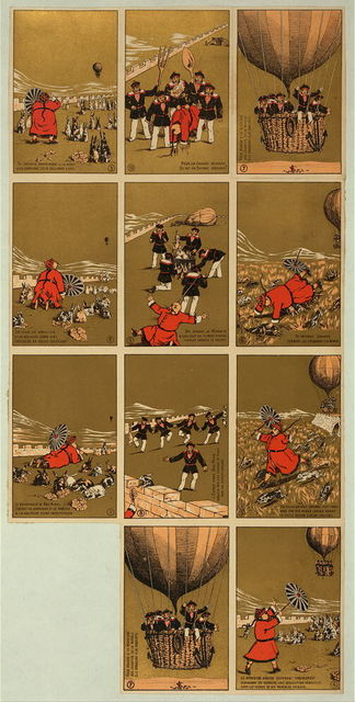 "[Collecting cards depicting a story about a Chinese governor of ""Bac-Ninh,"" who, while relaxing on a hill with his rabbits, is frightened by an approaching balloon carrying sailors. The sailors land, capture the governor and his rabbits, and make rabbit stew]"