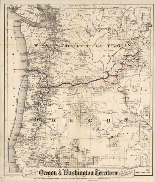Colton's township map of Oregon & Washington Territory, issued by the Oregon Railway and Navigation Co.