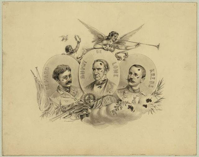 [Commemorative portrait of balloonists Charles Renard, Dupuy de Lôme, and Arthur Krebs, inventors and military officers who were charged with developing a navigable balloon during the Siege of Paris] / Gilbert.