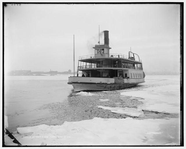 Detroit River ferry boat in ice