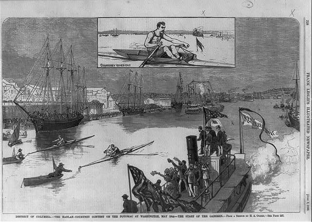 District of Columbia - The Hanlan-Courtney Contest on the Potomac at Washington, May 19th - the start of the oarsmen