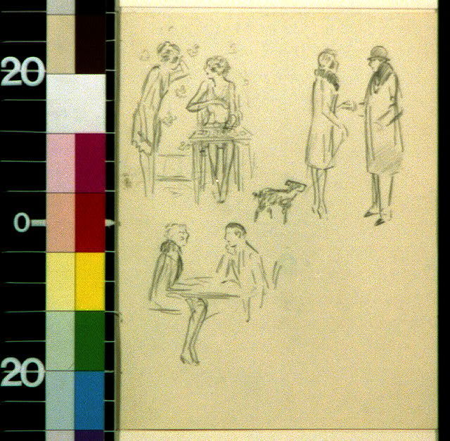 [Dottie and Lottie. Lottie and Dottie talking by a card table, man talking to woman with dog, and seated couple]