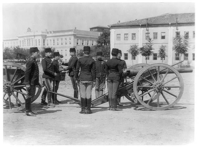 [Drill of the students of Tophane school (Imperial School of Artillery), loading shells] / Abdullah Frères, Constantinople.